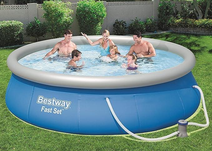 Bestway Fast Set 57321 - Piscina (Piscina Hinchable, Círculo, 7340 L, Azul, 84 cm, PVC): Amazon.es: Juguetes y juegos