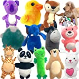 Jalousie 12 Pack Plush Animal Dog Toy Dog Squeaky Toys Cute Pet Plush Toys Stuffed Puppy Chew Toys for Small Medium Dog…