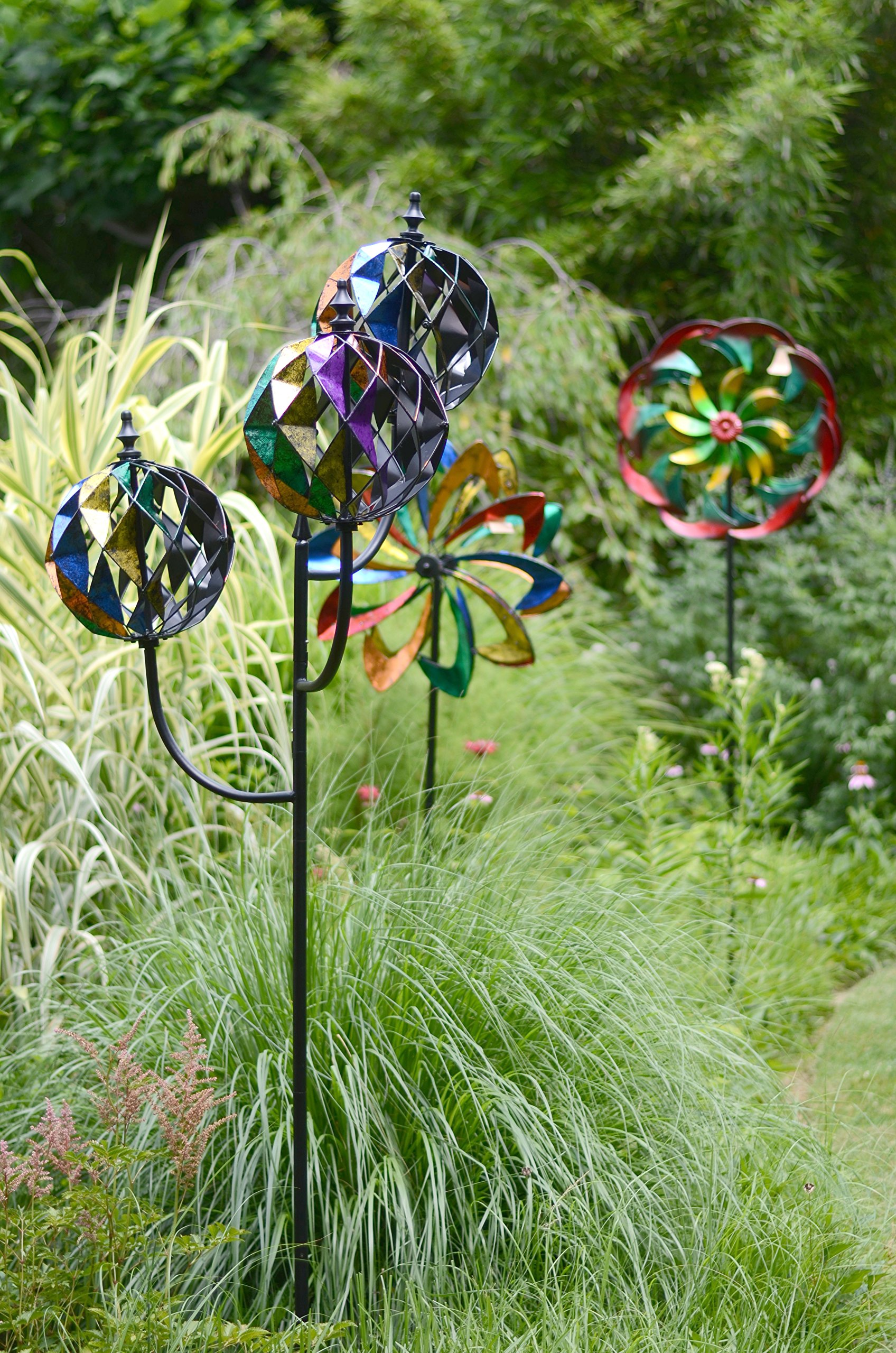 Red Carpet Studios Metal Yard Stake Wind Spinner with Wind Powered Lights, Flower Power
