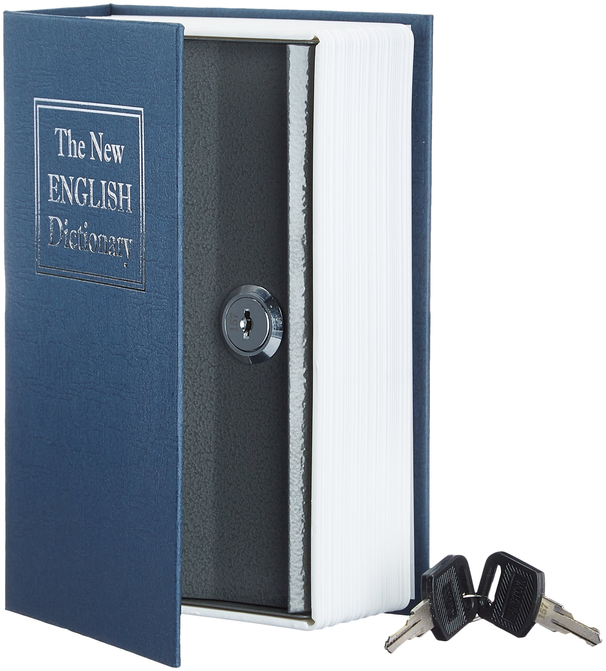 AmazonBasics - Caja de seguridad en forma de libro - Cerradura con llave (pequeña)