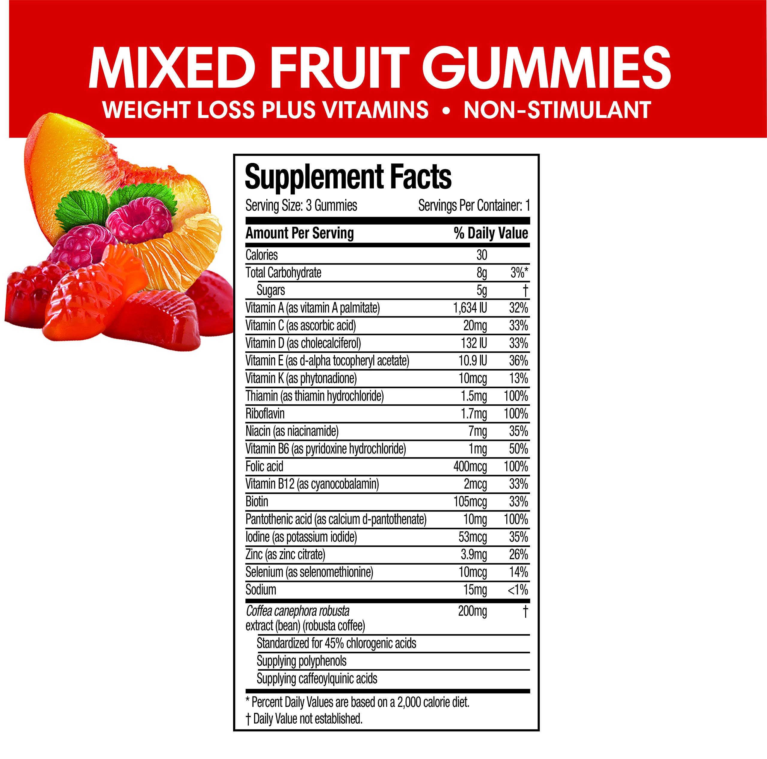 Health Shopping Hydroxycut Non-Stimulant Weight Loss Mixed Fruit Gummies, 90 Count