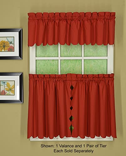 Today s Curtain Orleans 12 Valance Tambour Scallop Edge Curtain, Brick Red, 60 W X L