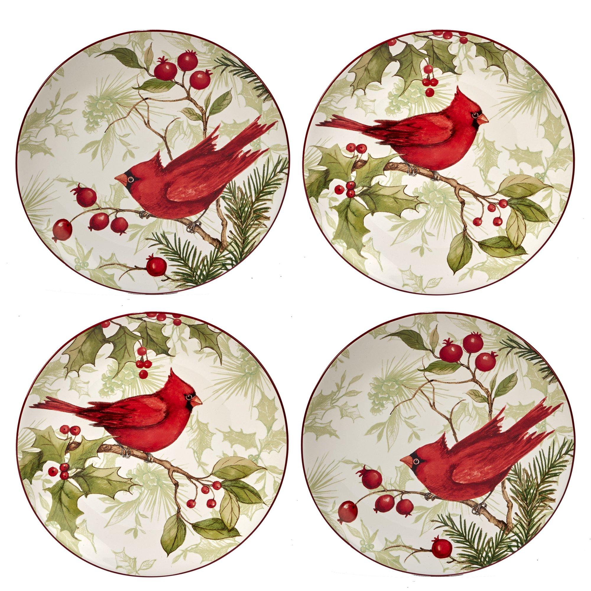 Certified International Winter Field Notes  9'' Dessert Plates, Set of 4, 2 Assorted Designs