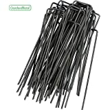 GardenMate 100-Pack 6'' 11 Gauge HEAVY-DUTY U-Shaped Garden Securing Pegs - Sod staples ideal For Securing Weed Fabric, Landscape Fabric, Netting, Ground Sheets And Fleece - Sod Staples, Garden Spikes