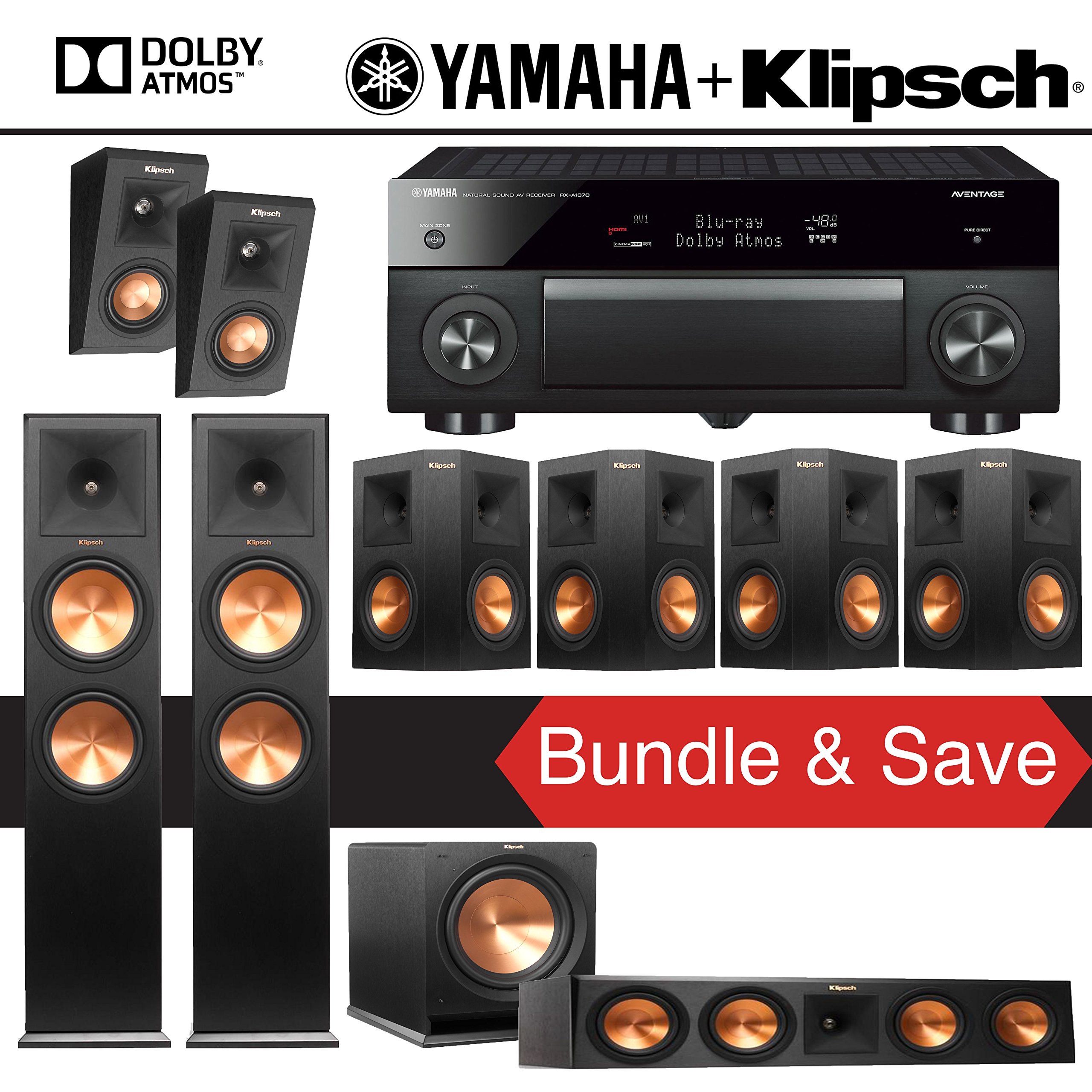 Klipsch RP-280F 7.1.2 Reference Premiere Dolby Atmos Home Theater System with Yamaha AVENTAGE RX-A1070BL 7.2-Channel Network AV Receiver by Klipsch