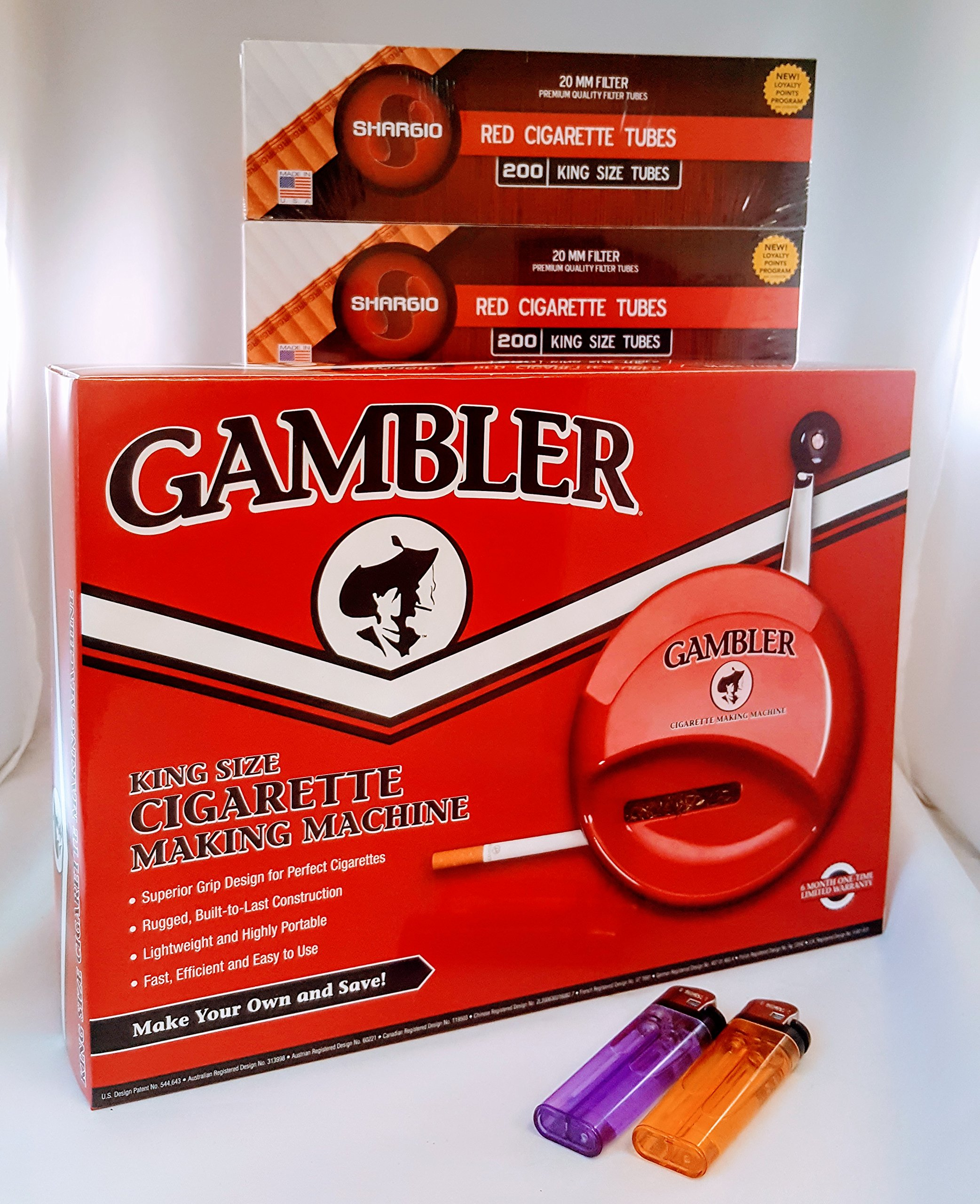 Gambler Kingsize and 100's Cigarette Machine+ FREE Shargio tubes & liighters by TOP