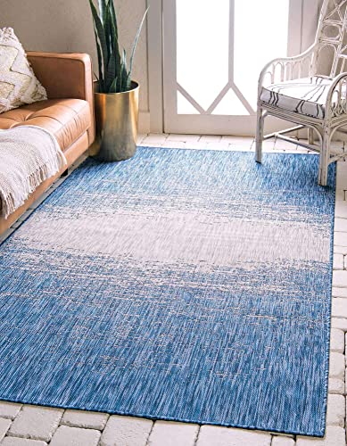 Unique Loom Outdoor Modern Collection Distressed Gradient Transitional Indoor and Outdoor Flatweave Blue Area Rug 9' 0 x 12' 0