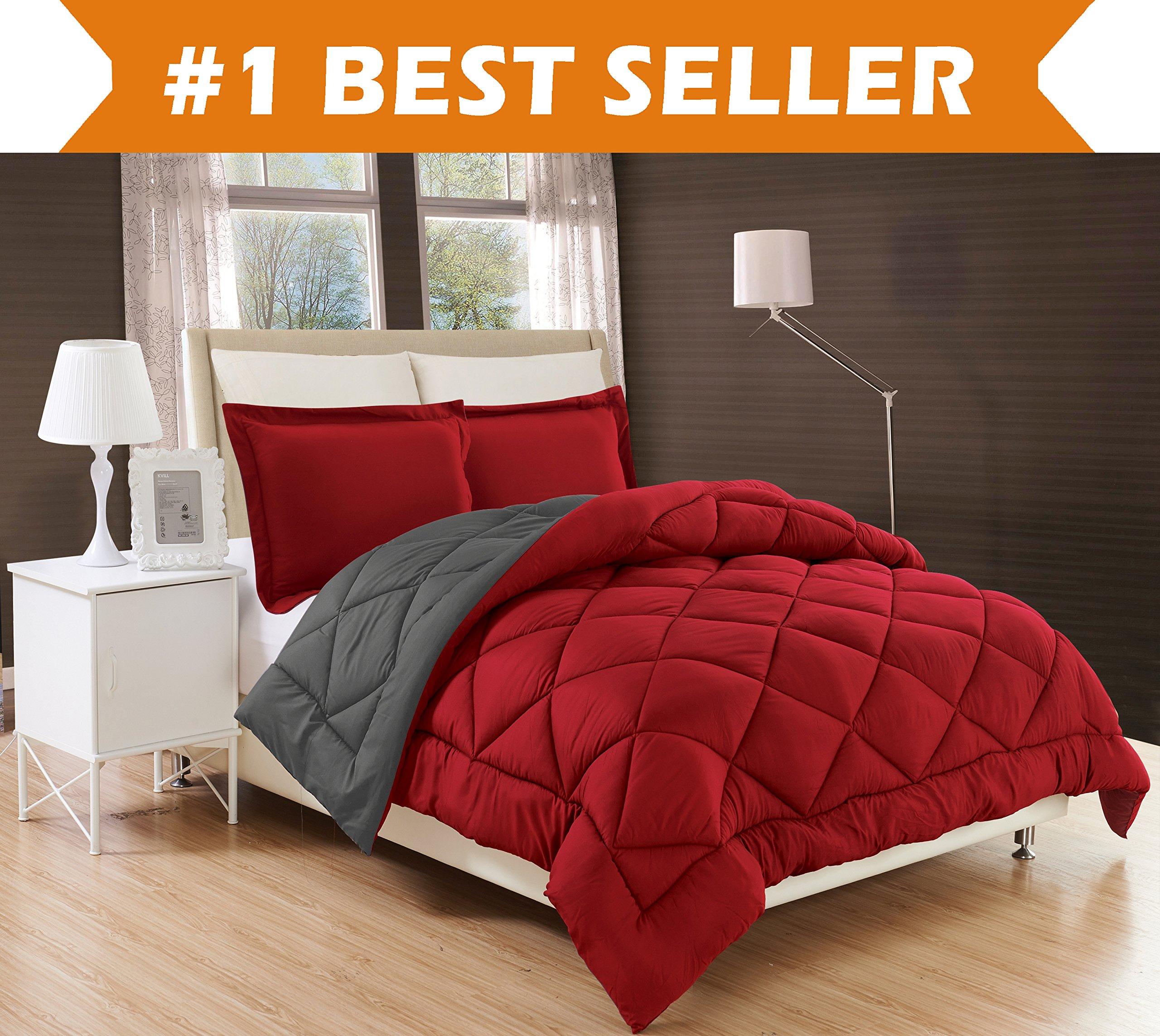 Elegant Comfort All Season Comforter and Year Round Medium Weight Super Soft Down Alternative Reversible 3-Piece Comforter Set, King, Burgundy/Grey by Elegant Comfort