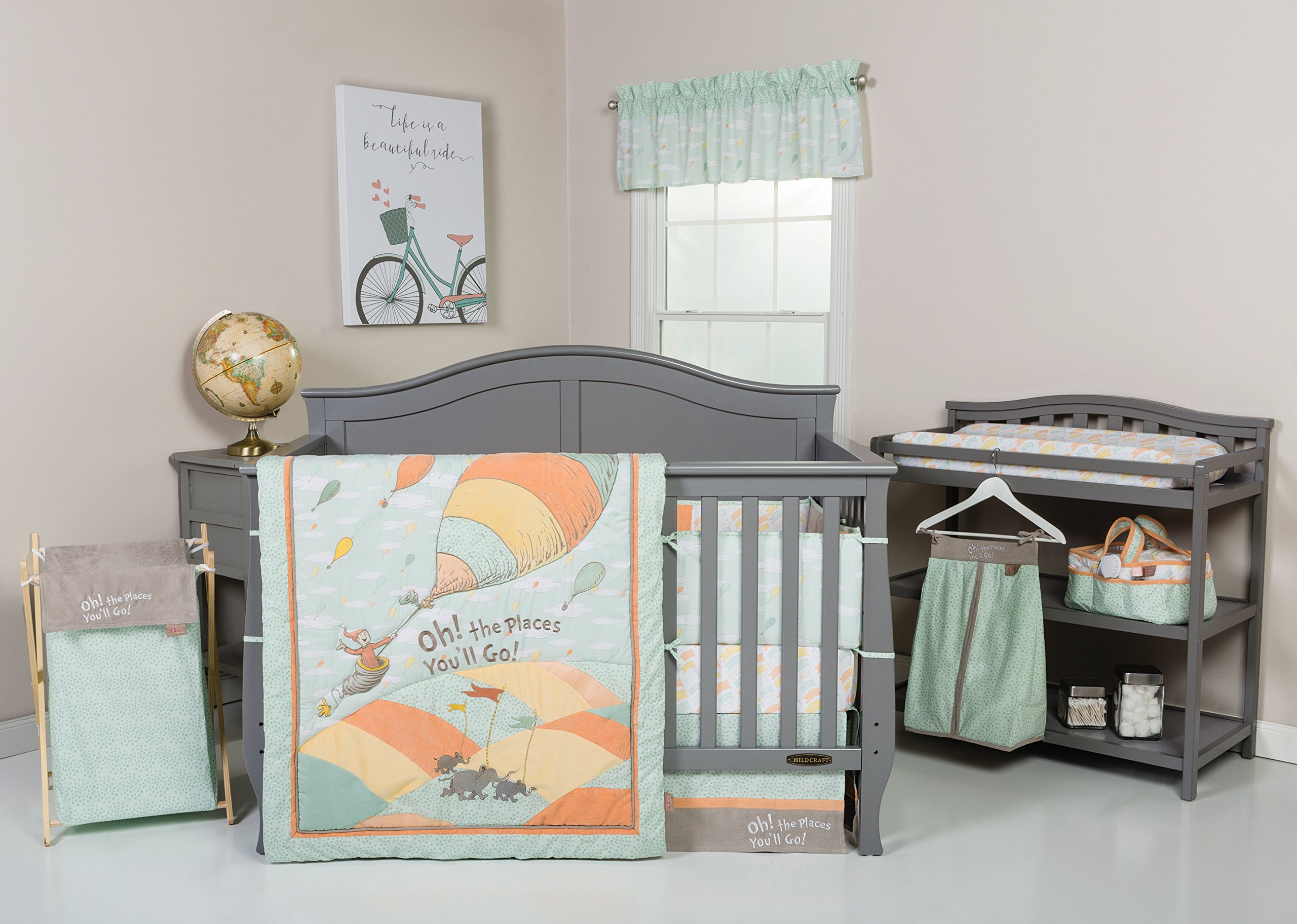 Trend Lab Dr. Seuss Oh, The Places You'll Go! Unisex Hamper Set, Green and Gray by Trend Lab