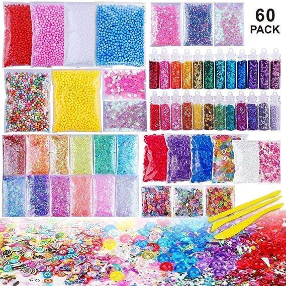 Outtybrave 60 Pcs Slime Kit,Slime Herramientas para artesanía de Bricolaje Incluyen Fishbowl Beads, Bolas Espuma, apel azúcar, Glitter, Confeti,Bolas Espuma ...