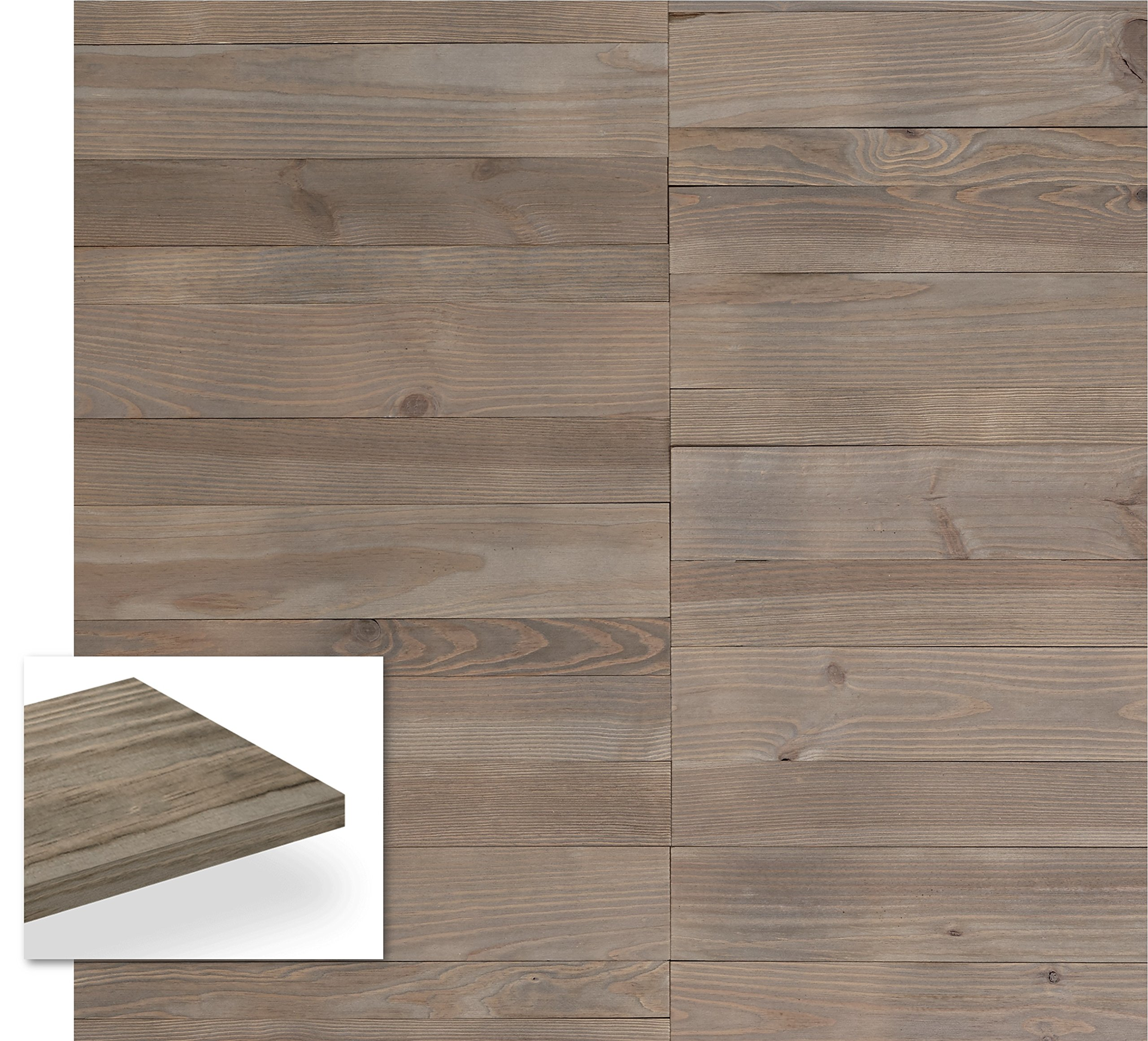 Timberwall - WELD Collection Pewter - DIY Solid Wood Wall Panel - Easy Peel and Stick application - 10.3 Sq Ft