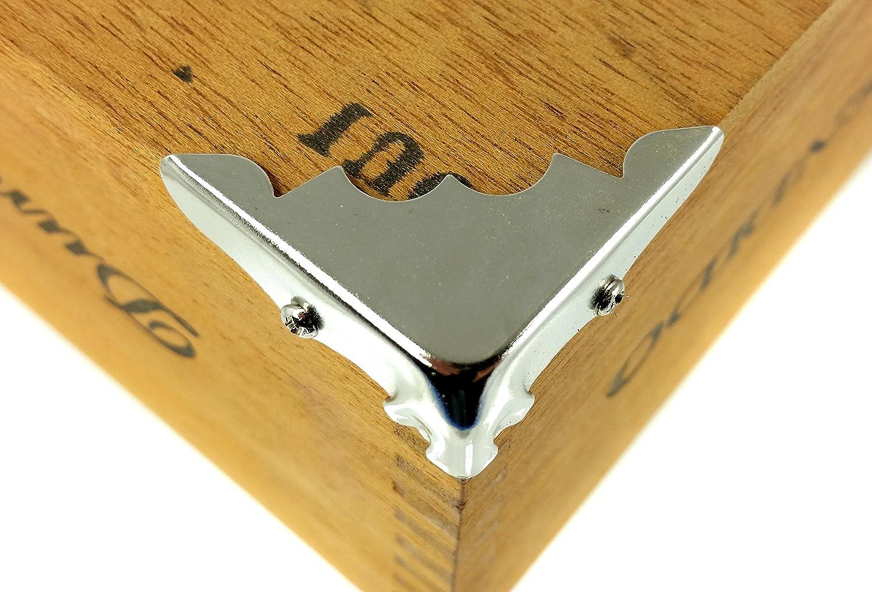 Decorative Shiny Nickel-Plated Metal Box Corners 8pcs