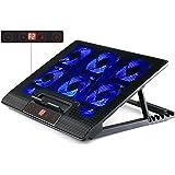 skgames Notebook Laptop Kühler Gamer Ständer Unterlage für 10-17 Zoll, 6 x LED Lüfter, LCD Lüftersteuerung, 7 Stufen Höhenverstellung, Blau