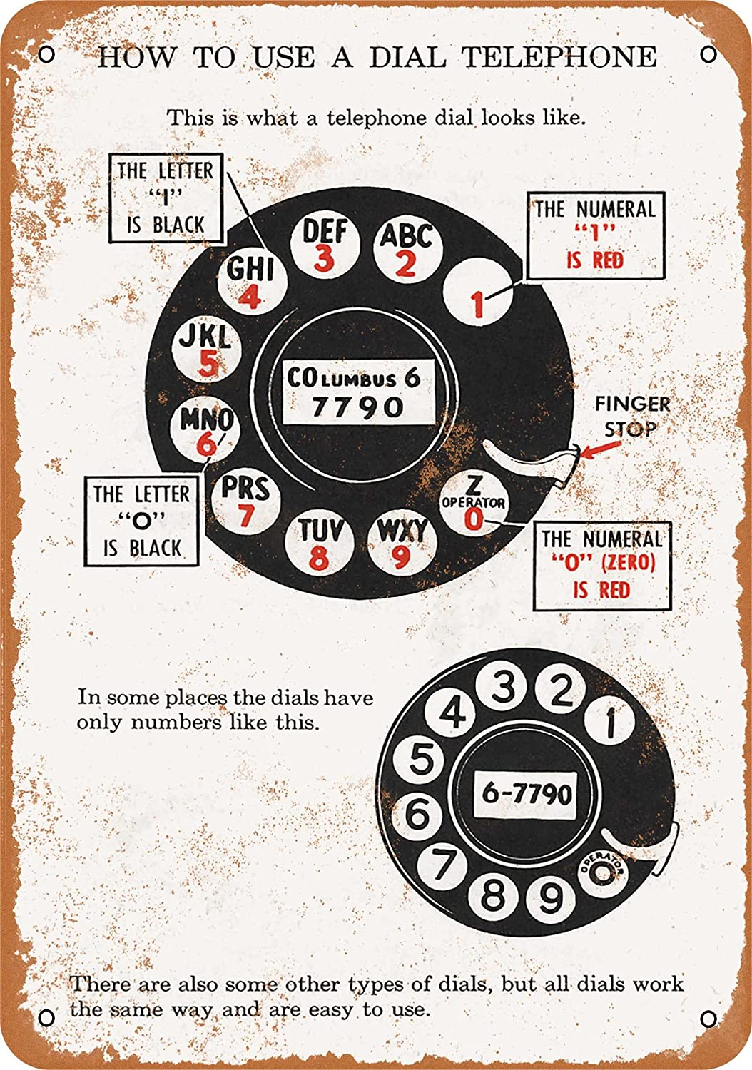 Wall-Color 7 x 10 Metal Sign - 1927 Here's How to Use a Dial Telephone - Vintage Look