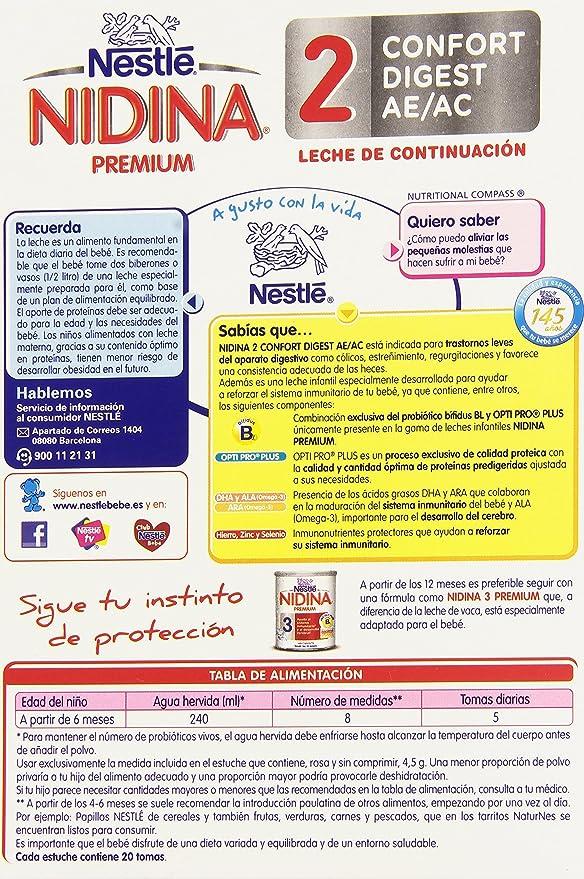 Nestlé Nidina 2 Premium Confort Digest AE/AC Leche de Continuación, en Polvo - 750 gr: Amazon.es: Alimentación y bebidas