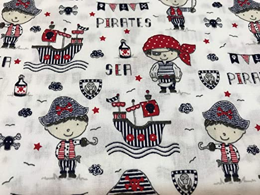 telas de algodón PIRATAS 100% algodón 1 metro x 145 cms: Amazon.es ...