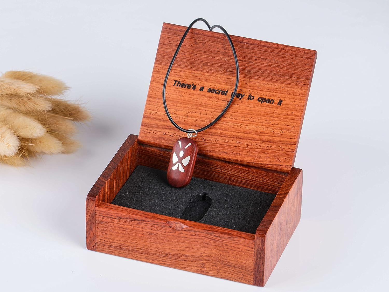 LMWood The illusionist locket m/édaillon Le m/édaillon illusionniste collier m/édaillon photo pendentif coeur en bois