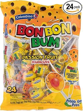 Colombina Bon Bon Bum Bubble Gum Pops Passion Fruit (Pack of 24)