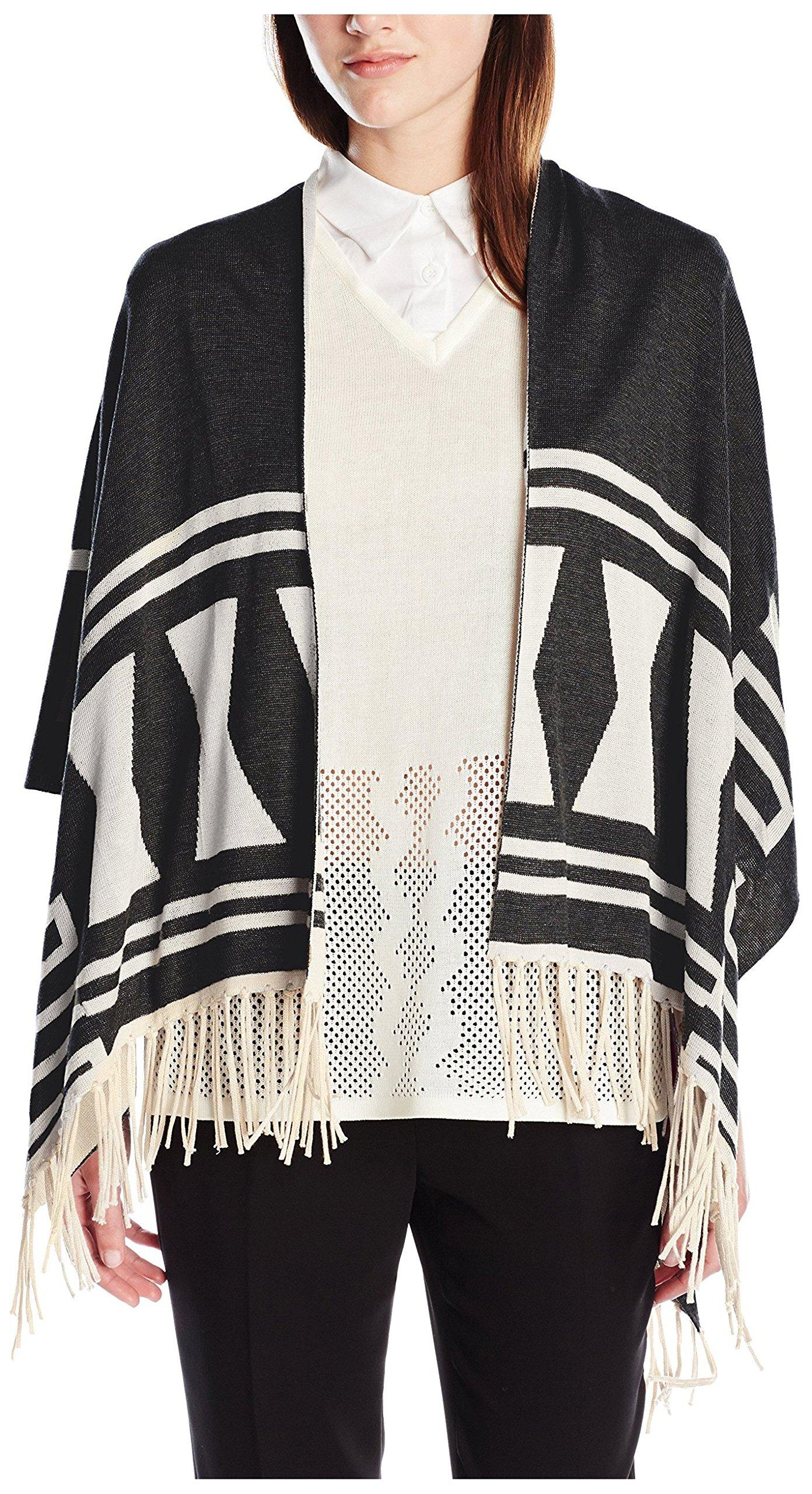 Love Token Women's Dina Knit Poncho, Black/Ivory, M/L