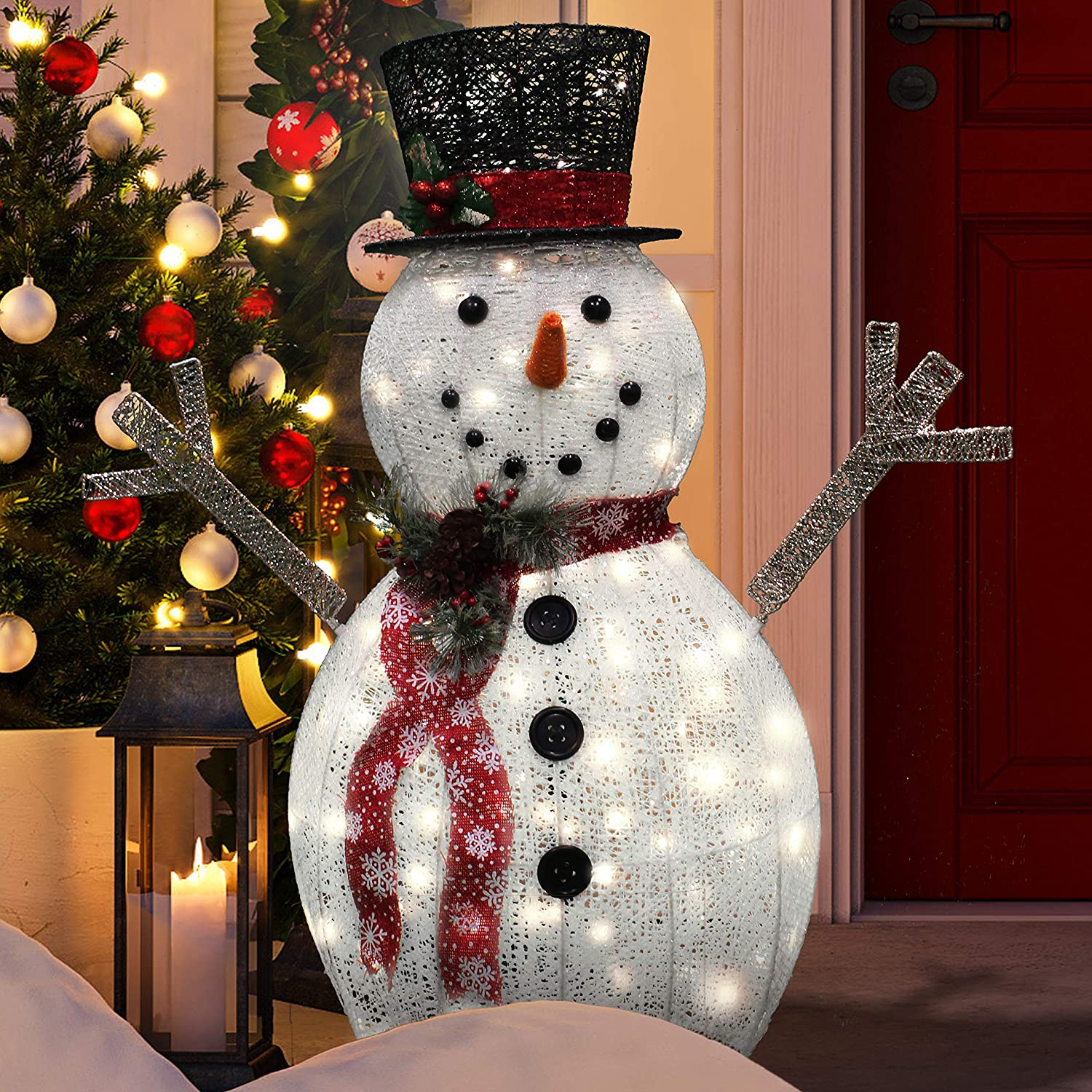 Joiedomi 3ft Cotton Snowman LED Yard Light for Christmas Outdoor Yard Garden Decorations, Christmas Event Decoration, Christmas Eve Night Decor