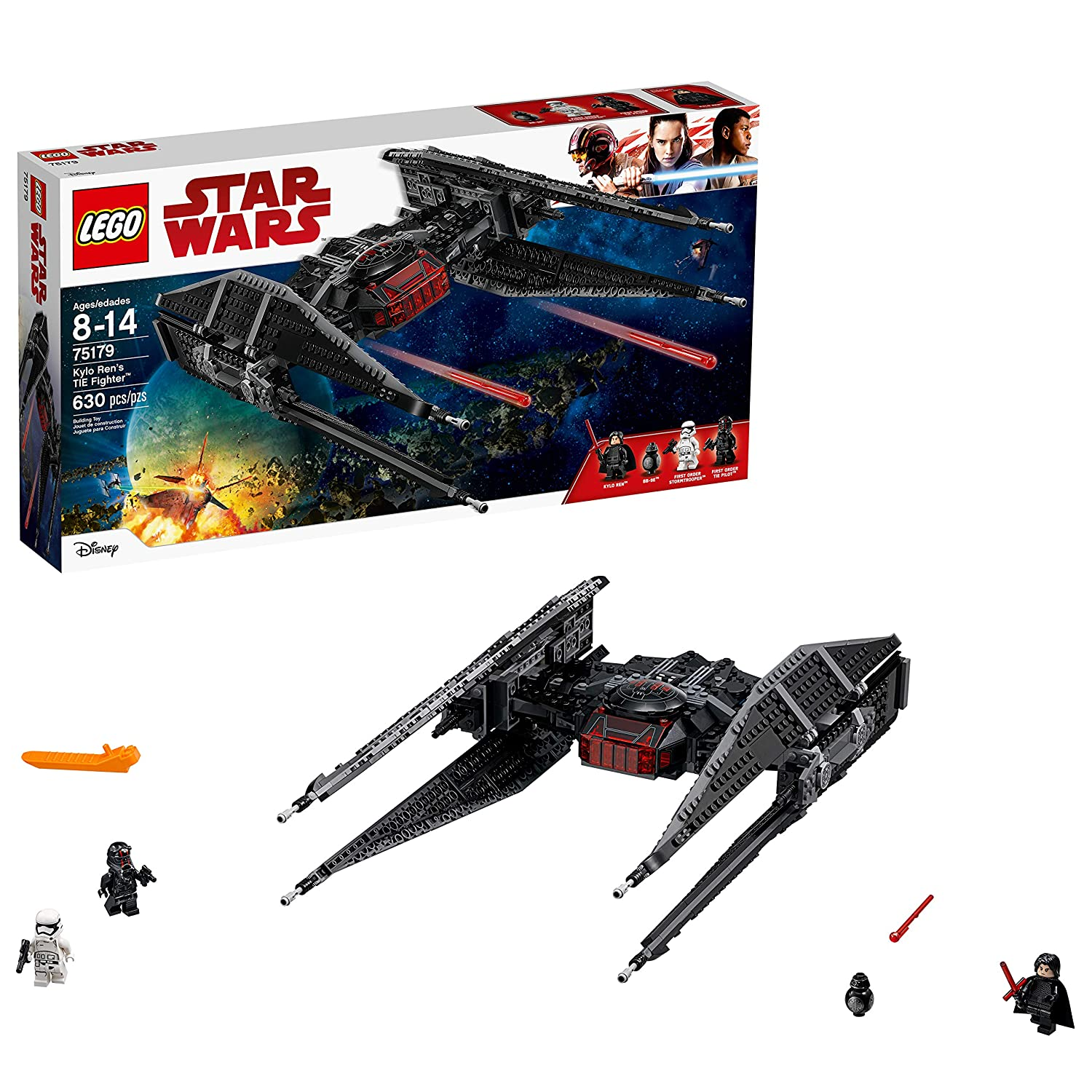 Amazon com lego star wars episode viii kylo rens tie fighter 75179 building kit 630 piece toys games