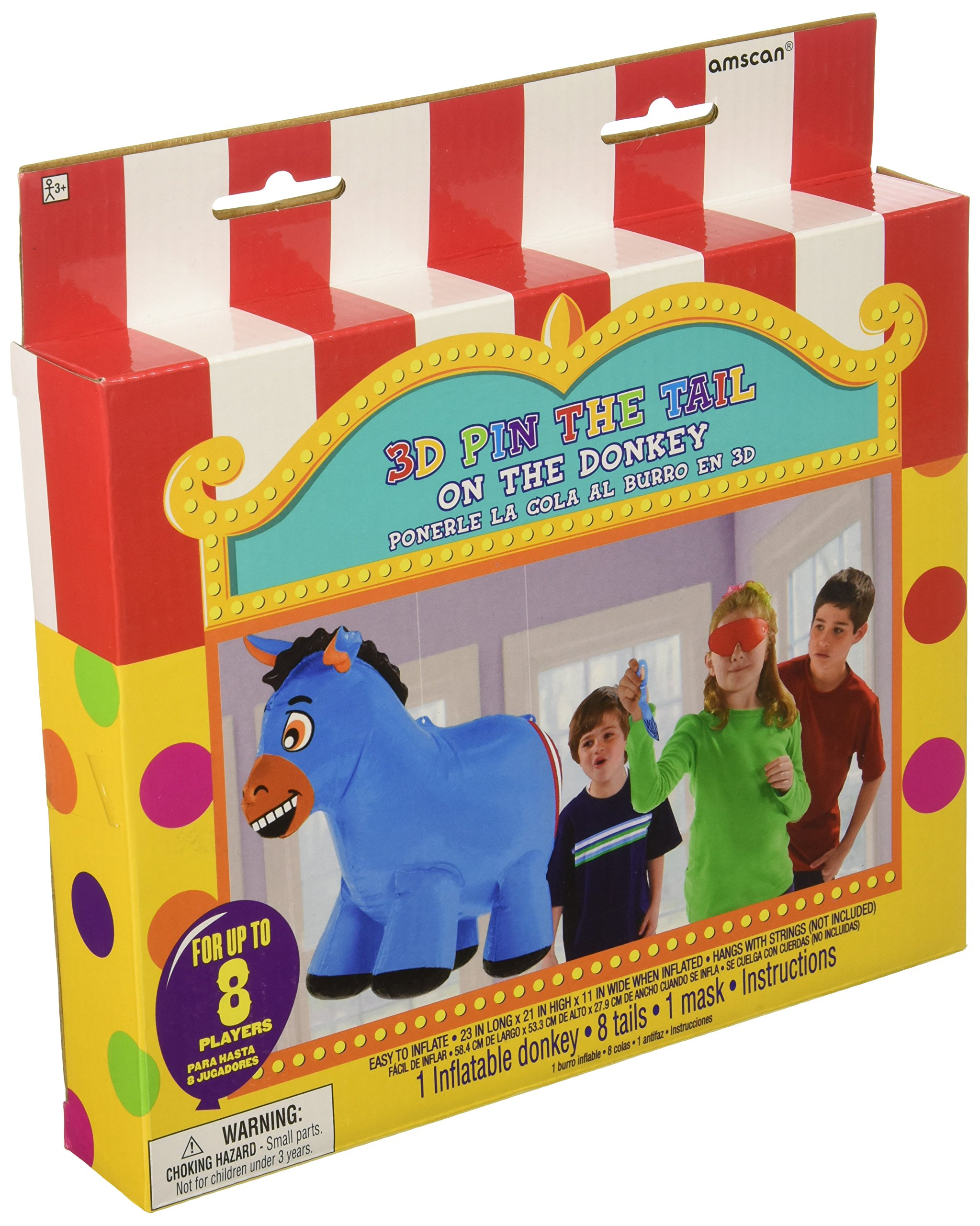 Amscan Carnival Fair Fun Inflatable Pin the Tail on the Donkey Game (10 Piece), Multicolor, 23 x 21 x 11''