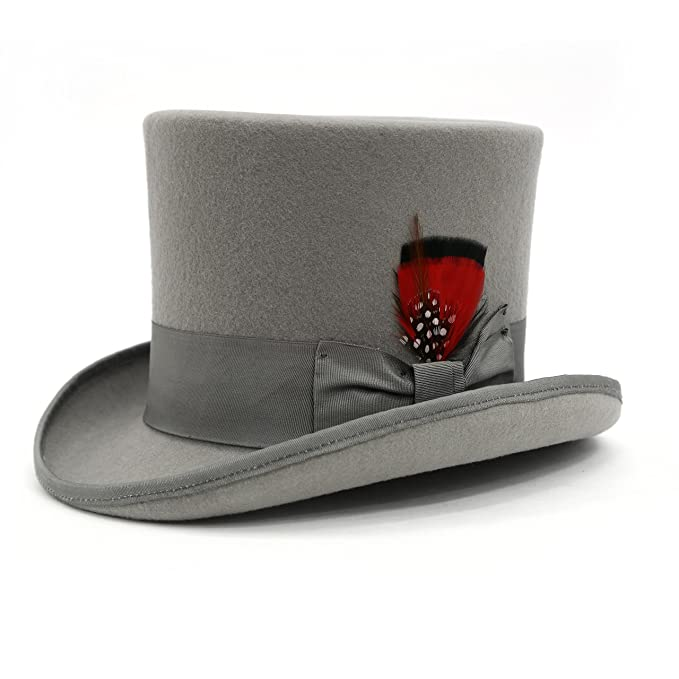 Steampunk Hats for Men | Top Hat, Bowler, Masks Ferrecci Classic Wool Elegant English Mad Hatter Lined Top Hat - MANY COLORS $54.99 AT vintagedancer.com