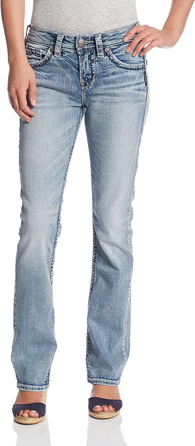 Silver Jeans Co. Women's Suki Curvy Fit High Rise Baby Bootcut Jean: Clothing