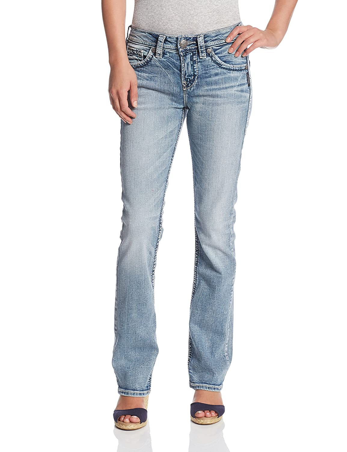 Amazon.com: Silver Jeans Women's Tuesday Low Rise Slim Bootcut ...
