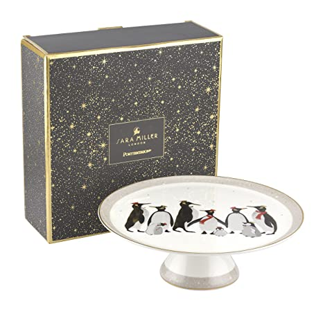 Sara Miller SMPE79032-XM Sara Miller London-Penguin Christmas Collection Portmeirion - Bandeja para tartas (porcelana), multicolor: Amazon.es: Hogar