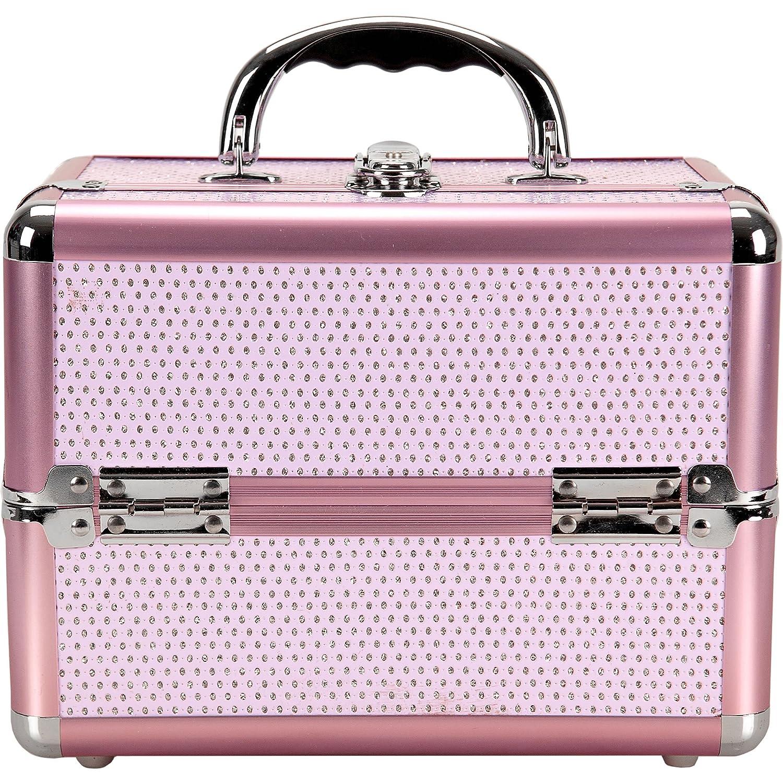 Sunrise C0211KLPK 4-Tiers Expandable Trays, Makeup Train Case, Shoulder Strap Keylock in Pink Krystal, 1 Count