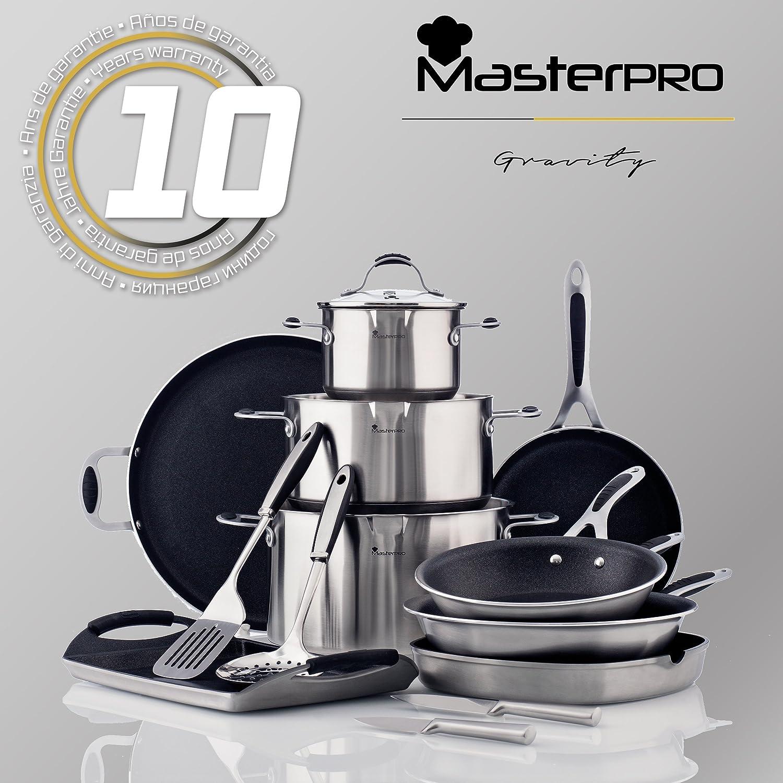 MasterPro Gravity: Set de Sartenes: Ø16 Ø20 Ø24 Ø28 cm, Aluminio prensado, aptas para inducción + balanza de Cocina: Amazon.es: Hogar