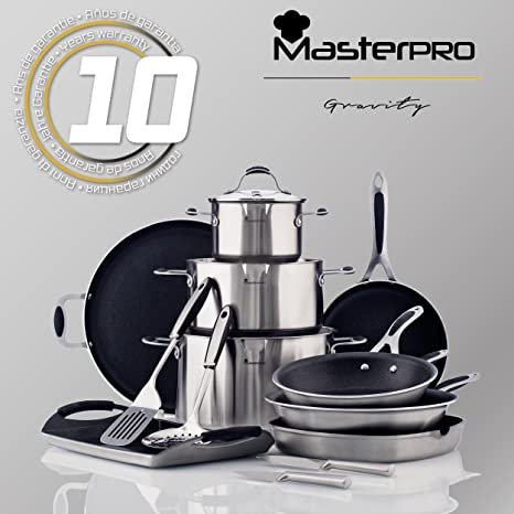 MasterPro Gravity: Set de Sartenes Ø16 Ø20 Ø24 Ø28 y asador 28x28 cm: Amazon.es: Hogar