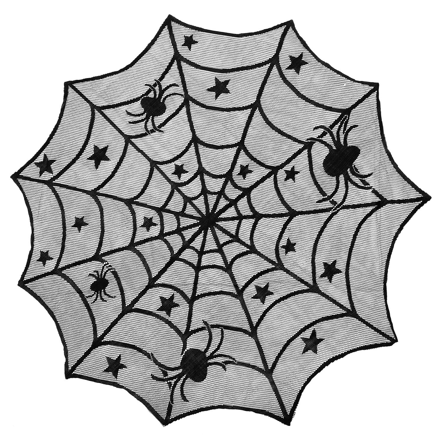 Maddott Halloween Table Topper Cloth 40 Inch Black Spider Halloween Lace Table Decoration,Dinner Parties, Scary Movie Nights