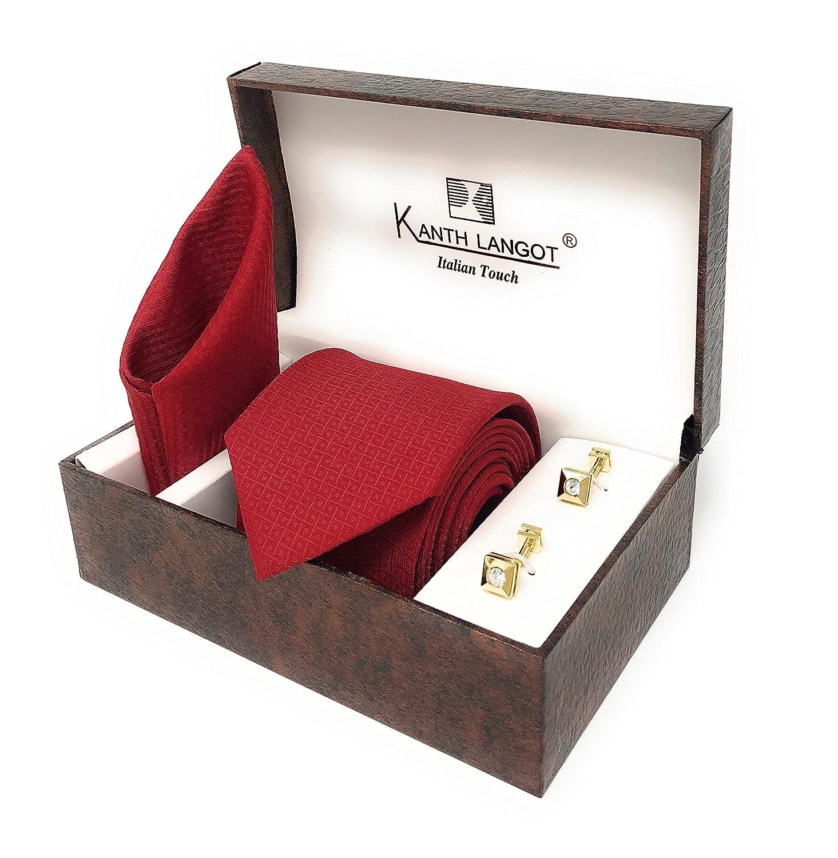 Kanthlangot Jacquard Tie Pocket Square And Cufflinks Set