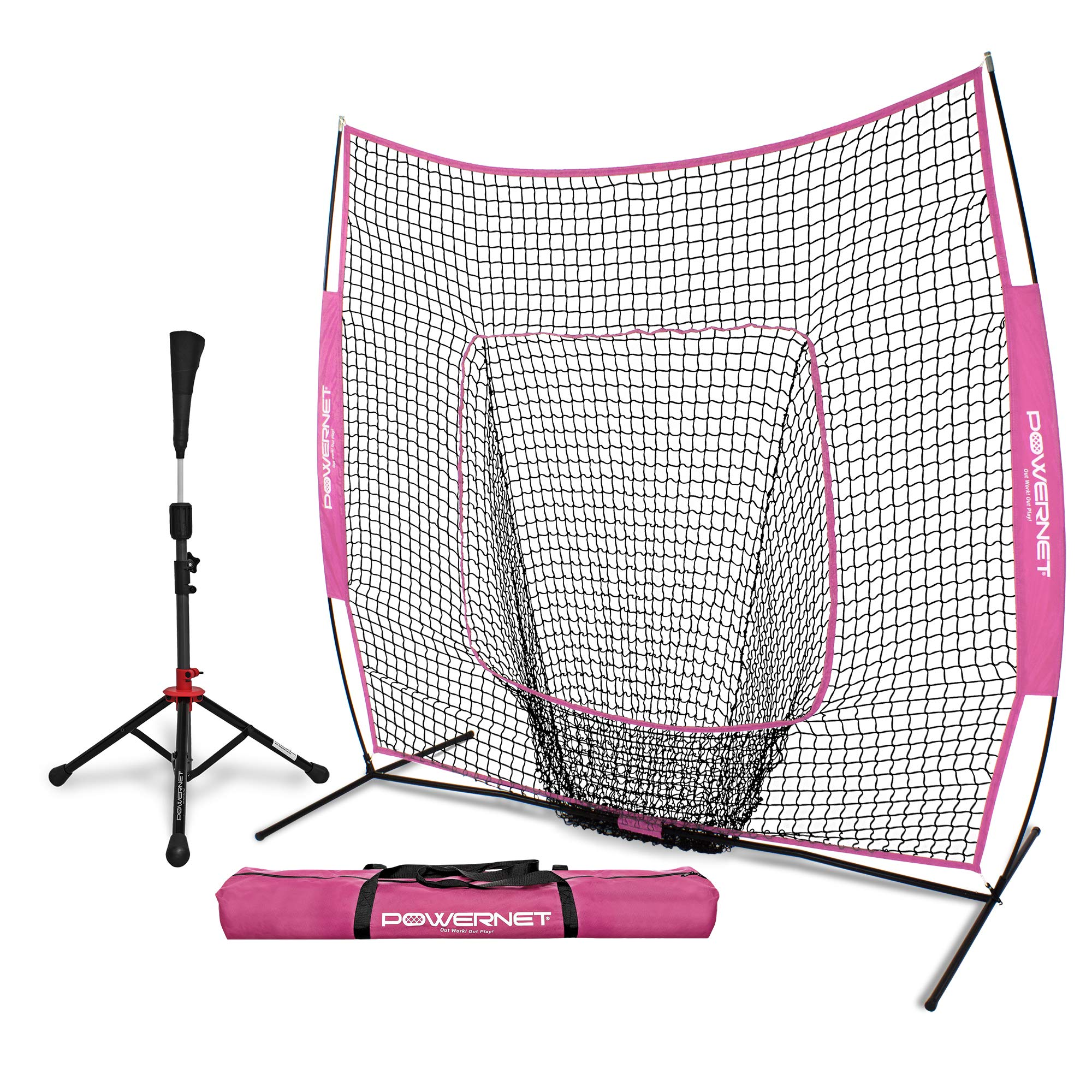 PowerNet Baseball Softball Practice Net 7x7 with Deluxe Tee (Pink) | Practice Hitting, Pitching, Batting, Fielding | Portable, Backstop, Training Aid, Lg Mouth, Bow Frame | Training Equipment Bundle by PowerNet