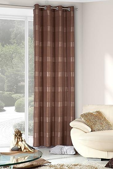 Amazon.de: Vorhang Ösenvorhang 140x250 cm Gestreift Andrea braun ...