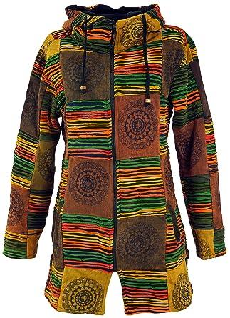 Guru Shop Goa Patchwork Kurzmantel, Boho Hippie Jacke Braun, Damen, Baumwolle, Boho Jacken, Westen Alternative Bekleidung