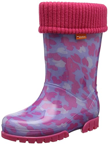 Girls Kids Baby Girl Wellies Wellington Boots Rainy Snow Warm Liner Sock  Little Hearts, Pink