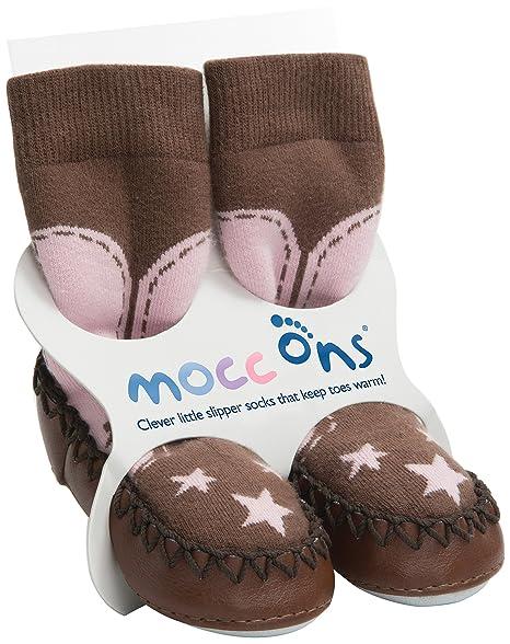 Mocc Ons: calcetines antideslizantes estilo mocasín para niñas. marrón vaquera Talla:2-