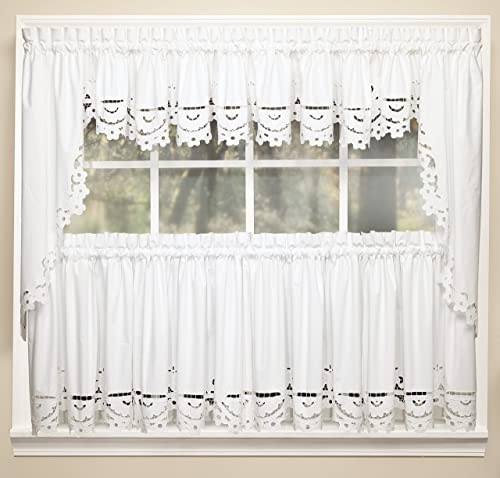 Today s Curtain Imperial Classic Drawn Cutwork Window Tier, 36-Inch, White
