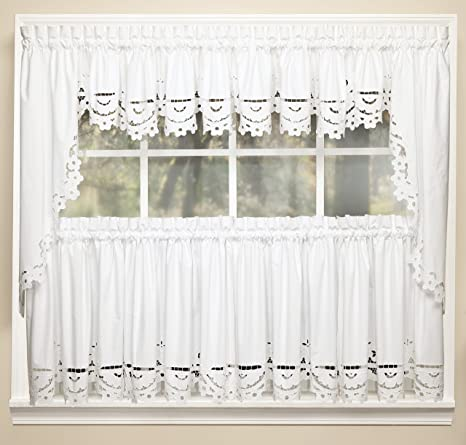 Curtains Vintage Off White Eyelet Window Coverings Valances and Tiers