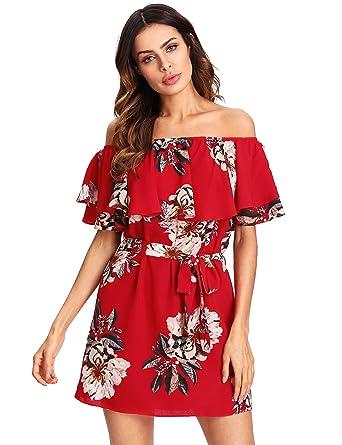 Floerns Women s Floral Print Ruffle Off The Shoulder Short Dress at ... 13428e940
