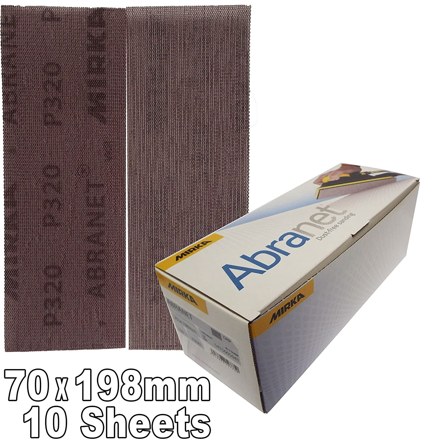 Mirka 5415005032 P320 Grit Abranet Abrasive Velcro Hook-it Sanding Strips Pack of 10 70mm x 198mm P320 Grit 70x198mm dust free, results in a very uniform scratch pattern leaving an ultra smooth finish