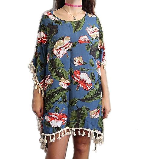 9d657aaebe THE SEA Womens Beach Cover up Kaftan with Tassels Caftan Tunic Bikini Dress  (Blue