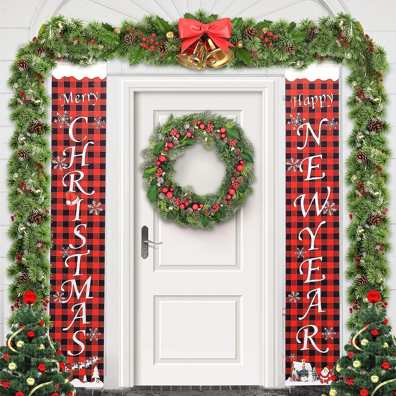 Christmas Porch Sign Decorations,Front Door Merry Christmas Banner,Garage Door Banners,Xmas Outdoor Banner,Buffalo Plaid Farmhouse Decor for Indoor Outdoor