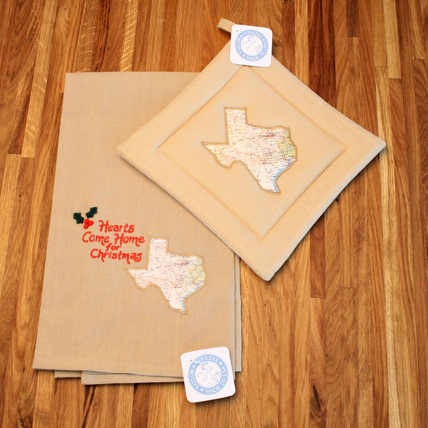 Custom Holiday Christmas Kitchen Towel and Potholder Gift Set (Texas) by Taylor and Coultas USA