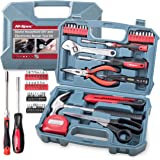 Hi-Spec 49pc Home Tool Kit with Electronics Repair Tools, Precision Screwdriver Bits & Bit Driver, Voltage Tester, Claw Hammer, Adjustable Wrench & Hand Tools DIY & Electrical General Tool Set in Box