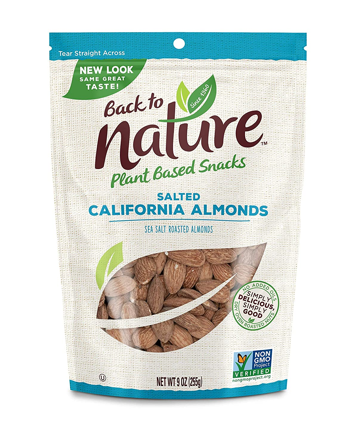 Back to Nature Nuts, Non-GMO Sea Salt Roasted California Almonds, 9 Ounce (Pack of 9)