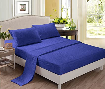 Polyester Bed Sheets (King, Royal Blue) Wrinkle Free, Fade Free, Stain